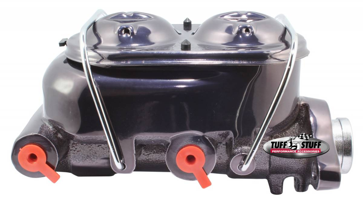 Tuff Stuff Performance - Brake Master Cylinder Dual Reservoir 1 in. Bore Dual 3/8 in. Ports On Both Sides 3 3/8 in. Mounting Hole Spacing Shallow Hole Black Chrome 2020NA7