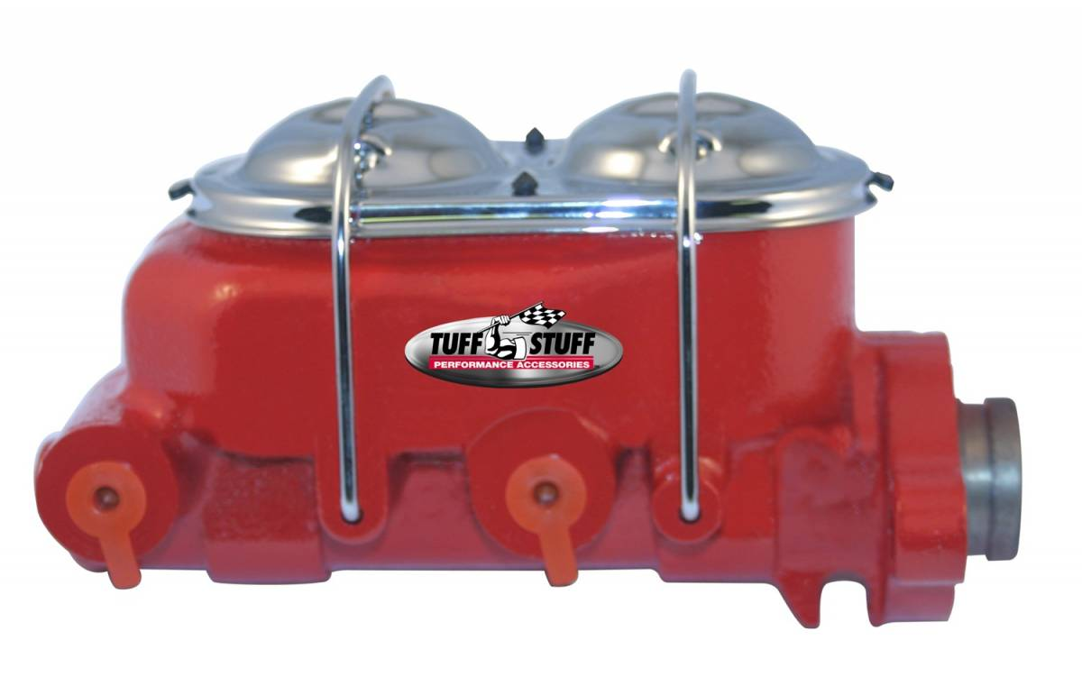 Tuff Stuff Performance - Brake Master Cylinder Dual Reservoir 1 in. Bore Dual 3/8 in. Ports On Both Sides 3 3/8 in. Mounting Hole Spacing Shallow Hole Red Powdercoat 2020NCRED