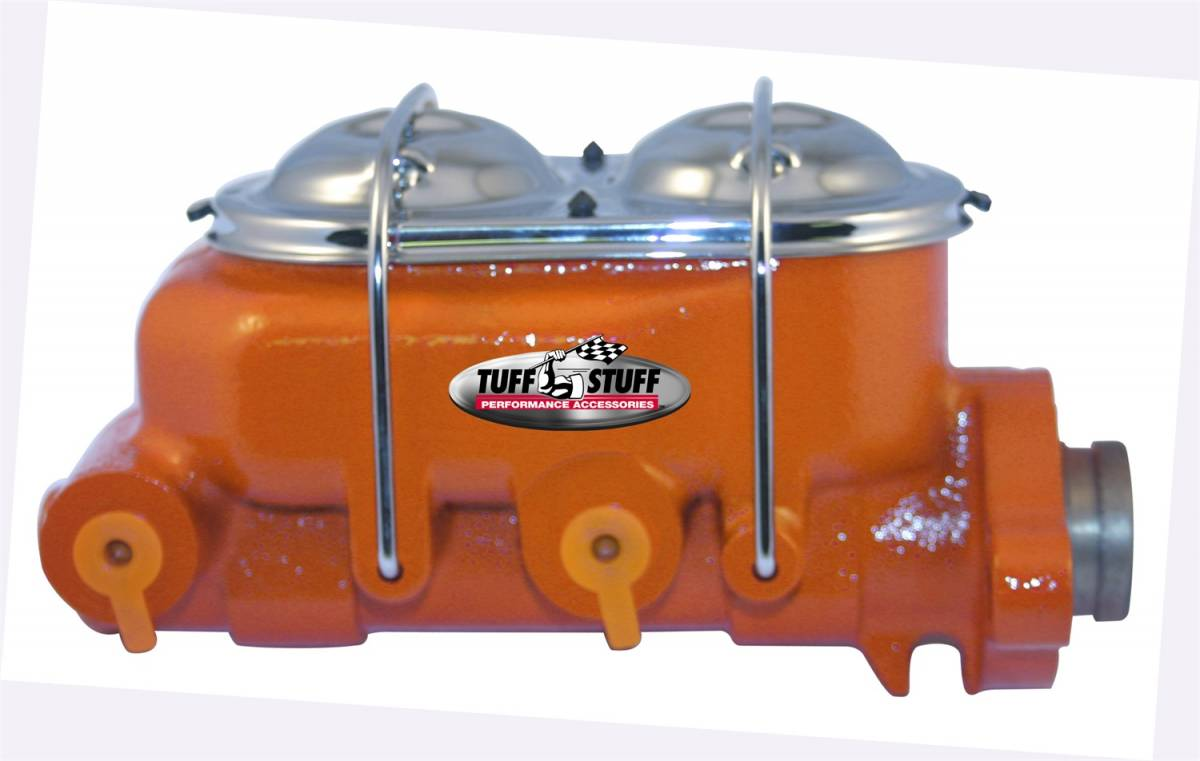 Tuff Stuff Performance - Brake Master Cylinder Dual Reservoir 1 in. Bore Dual 3/8 in. Ports On Both Sides 3 3/8 in. Mounting Hole Spacing Shallow Hole Orange Powdercoat 2020NCORANGE