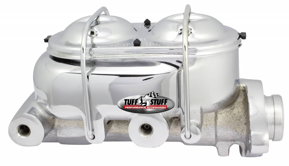 Tuff Stuff Performance - Brake Master Cylinder Dual Reservoir 1 in. Bore Dual 3/8 in. Ports On Both Sides 3 3/8 in. Mounting Hole Spacing Deep Hole Chrome 2021NA
