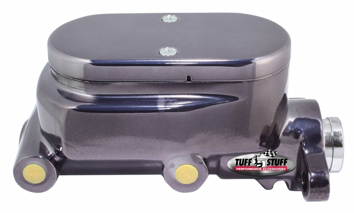 Tuff Stuff Performance - Brake Master Cylinder Dual Reservoir Aluminum Smoothie 1 in. Bore 9/16 in. And 1/2 in. Driver Side Ports Shallow Hole Black Chrome Fits Hot Rods/Customs/Muscle Cars 2023NC7
