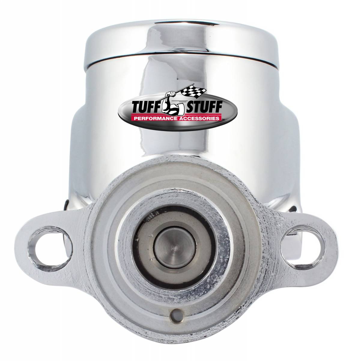 Tuff Stuff Performance - Brake Master Cylinder Dual Reservoir Aluminum Smoothie 1 in. Bore Dual 3/8 in. Ports On Both Sides Shallow Hole Chrome Fits Hot Rods/Customs/Muscle Cars 2025NC