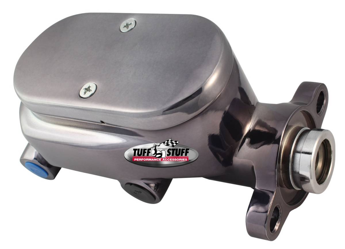 Tuff Stuff Performance - Brake Master Cylinder Dual Reservoir Aluminum Smoothie 1 1/8 in. Bore 9/16 in. And 1/2 in. Driver Side Ports Shallow Hole Black Chrome Fits Hot Rods/Customs/Muscle Cars 2027NC7