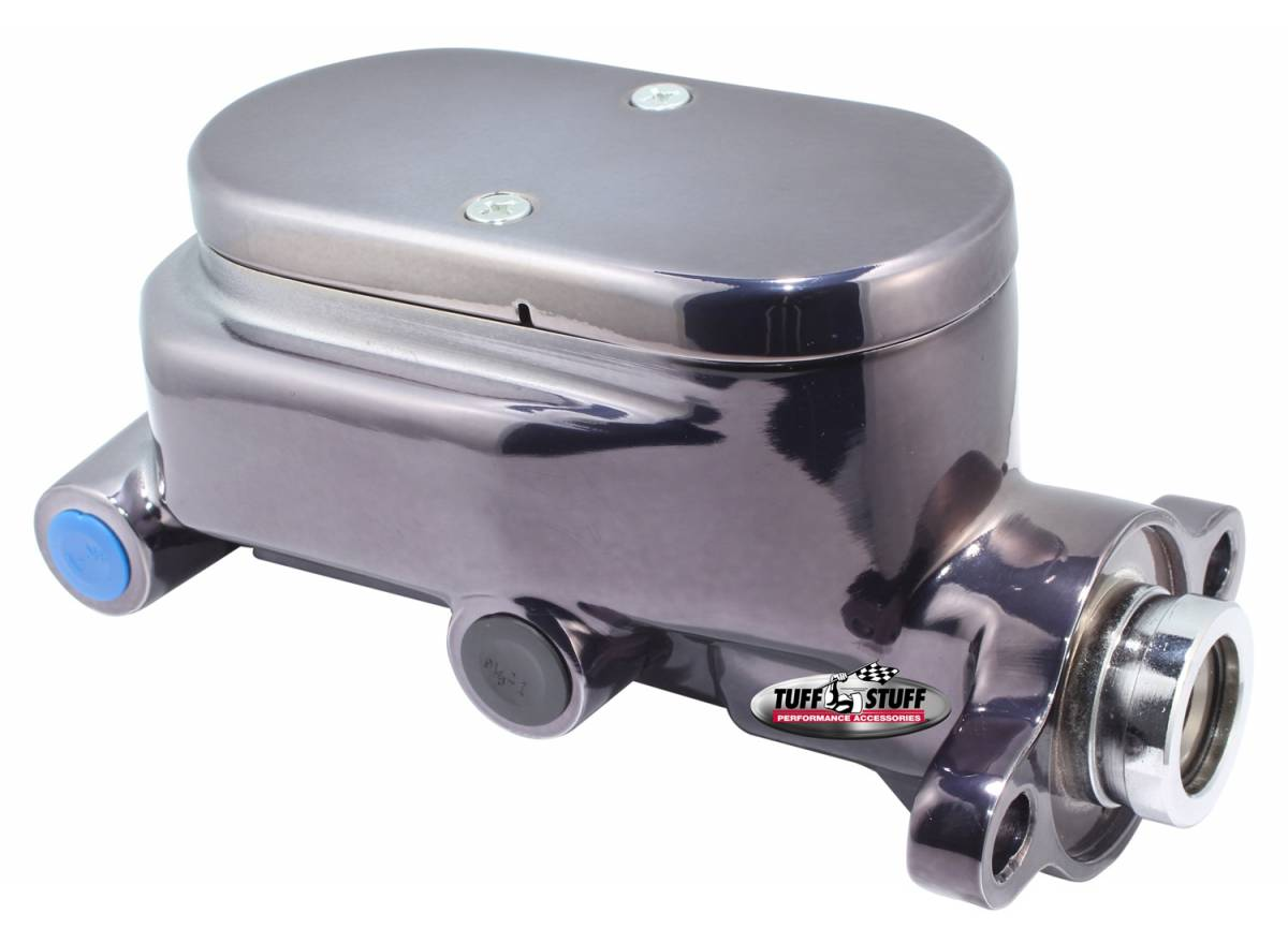 Tuff Stuff Performance - Brake Master Cylinder Dual Reservoir Aluminum Smoothie 1 1/8 in. Bore 9/16 in. And 1/2 in. Driver Side Ports Deep Hole Black Chrome Fits Hot Rods/Customs/Muscle Cars 2028NC7