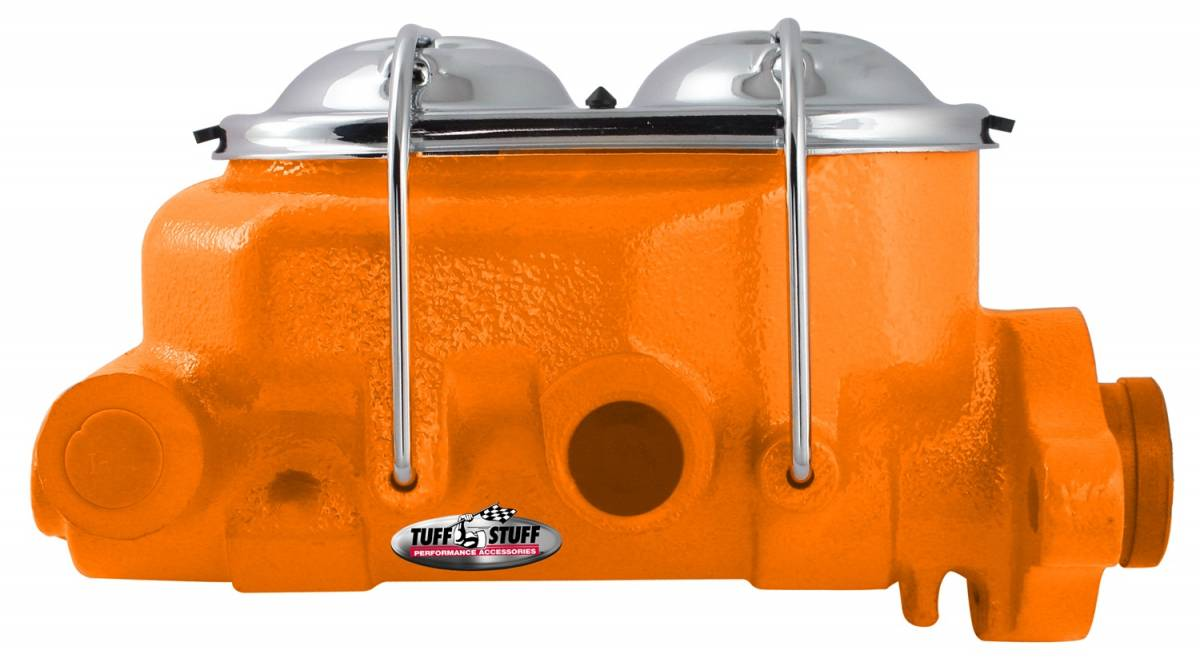 Tuff Stuff Performance - Brake Master Cylinder Univ. Dual Reservoir 1 1/8 in. Bore 9/16 in. And 1/2 in. Driver Side Ports Shallow Hole Fits Hot Rods/Customs/Muscle Cars Orange Powdercoat 2071NCORANGE
