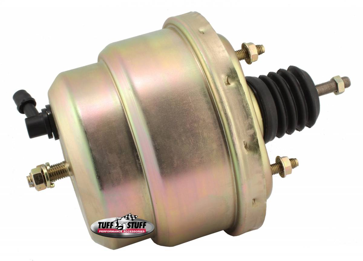 Tuff Stuff Performance - Power Brake Booster Univ. 7 in. Dual Diaphragm Incl. 3/8 in.-16 Mtg. Studs And Nuts Fits Hot Rods/Customs/Muscle Cars Gold Zinc 2222NB