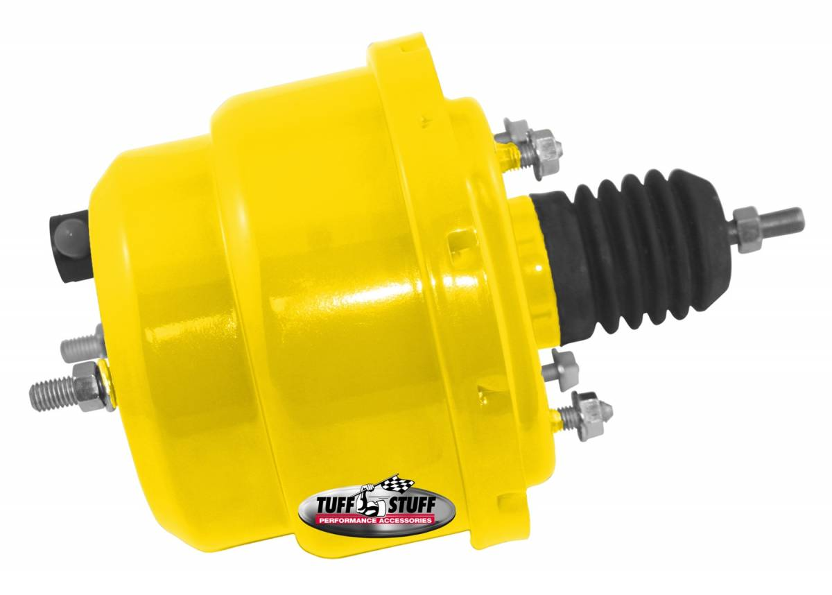Tuff Stuff Performance - Power Brake Booster Univ. 7 in. Dual Diaphragm Incl. 3/8 in.-16 Mtg. Studs And Nuts Fits Hot Rods/Customs/Muscle Cars Yellow Powdercoat 2222NCYELLOW