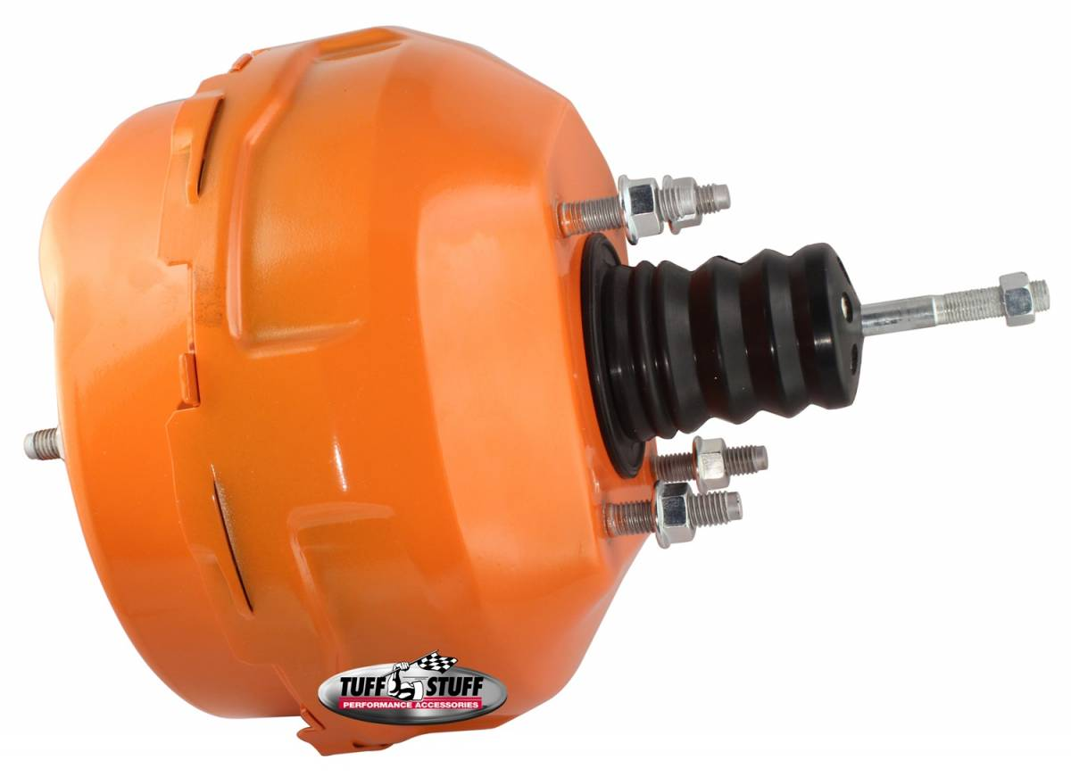 Tuff Stuff Performance - Power Brake Booster Univ. 9 in. Dual Diaphragm Rod Length 4.12 in. Incl. 3/8 in.-16 Mtg. Studs And Nuts Fits Hot Rods/Customs/Muscle Cars Orange Powdercoat 2224NCORANGE
