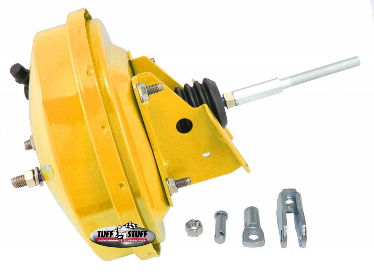 Tuff Stuff Performance - Power Brake Booster Univ. 9 in. Single Diaphragm Incl. 3/8 in.-16 Mtg. Studs And Nuts Fits Hot Rods/Customs/Muscle Cars Yellow Powdercoat 2226NBYELLOW