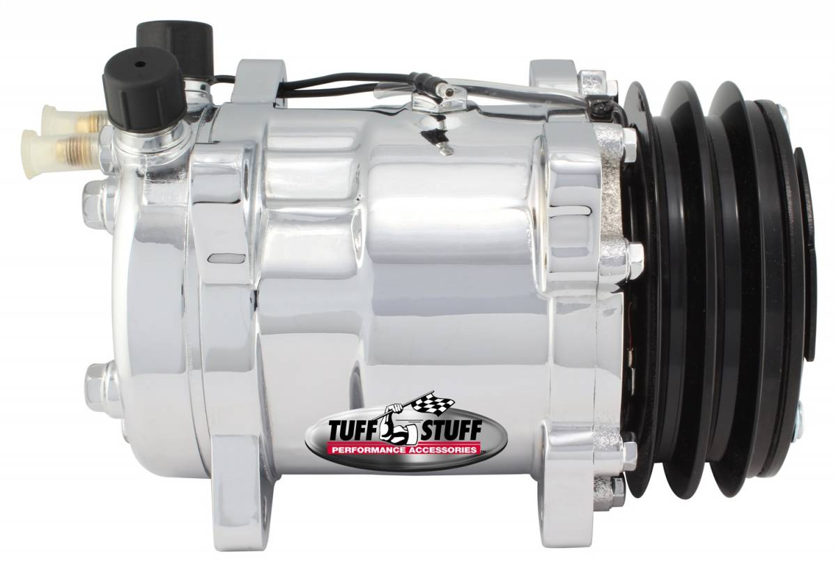 Tuff Stuff Performance - Sanden Style SD508 A/C Compressor R12 Series Double Pulley Chrome 4505NADP