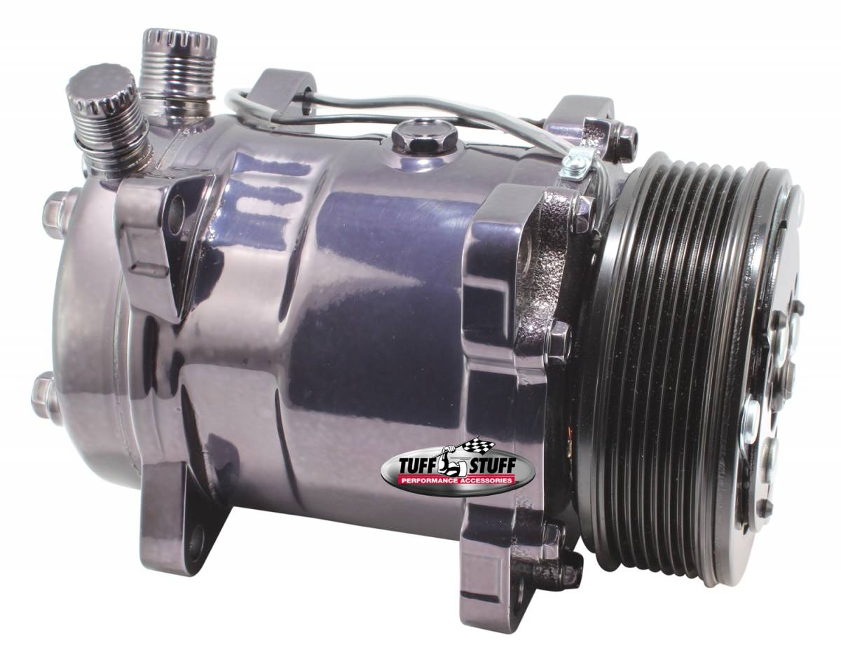 Tuff Stuff Performance - Sanden Style SD508 A/C Compressor R134A Series 6 Groove Pulley Black Chrome 4515NA6G7