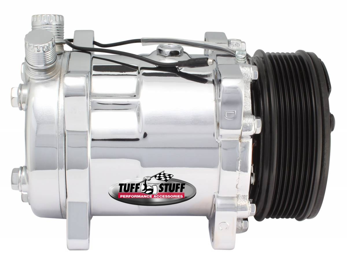 Tuff Stuff Performance - Sanden Style SD508 A/C Compressor R134A Series 6 Groove Pulley Polished 4515NB6G
