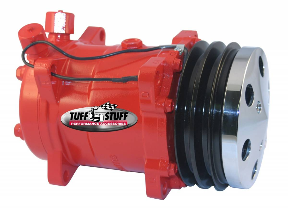 Tuff Stuff Performance - Sanden Style SD508 A/C Compressor R134A Series Double Pulley Red w/Chrome Clutch Cover 4515NCDPRED