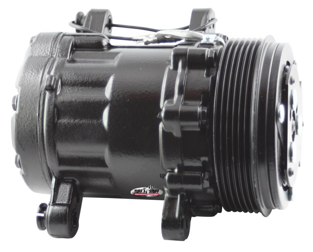 Tuff Stuff Performance - Sanden Style SD7 A/C Compressor R134A Series 6 Groove Pulley Black 4517NC6GBLA
