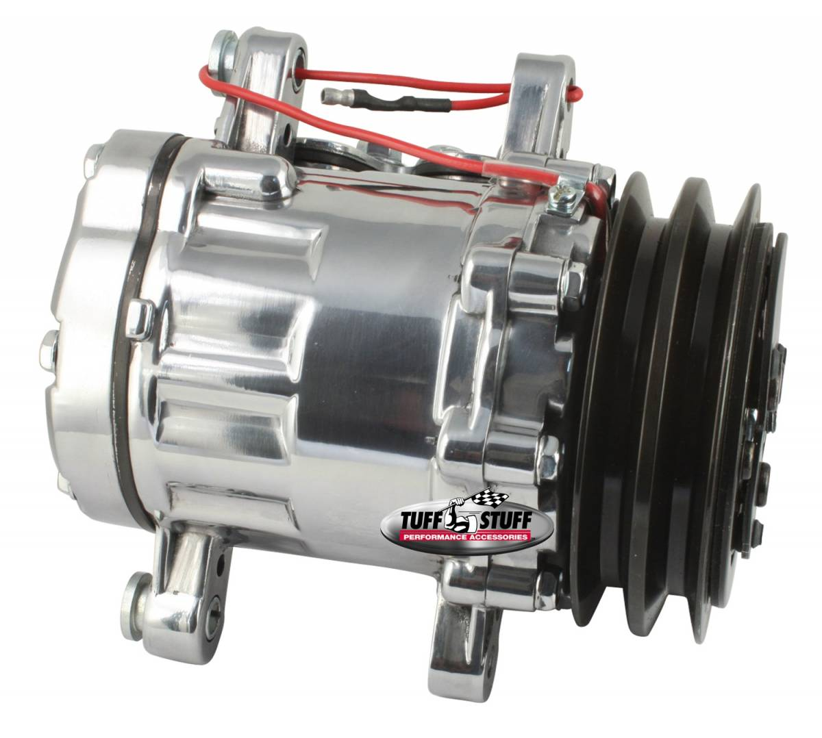 Tuff Stuff Performance - Sanden Style SD7 A/C Compressor R134A Series Double Pulley Polished 4517NBDP