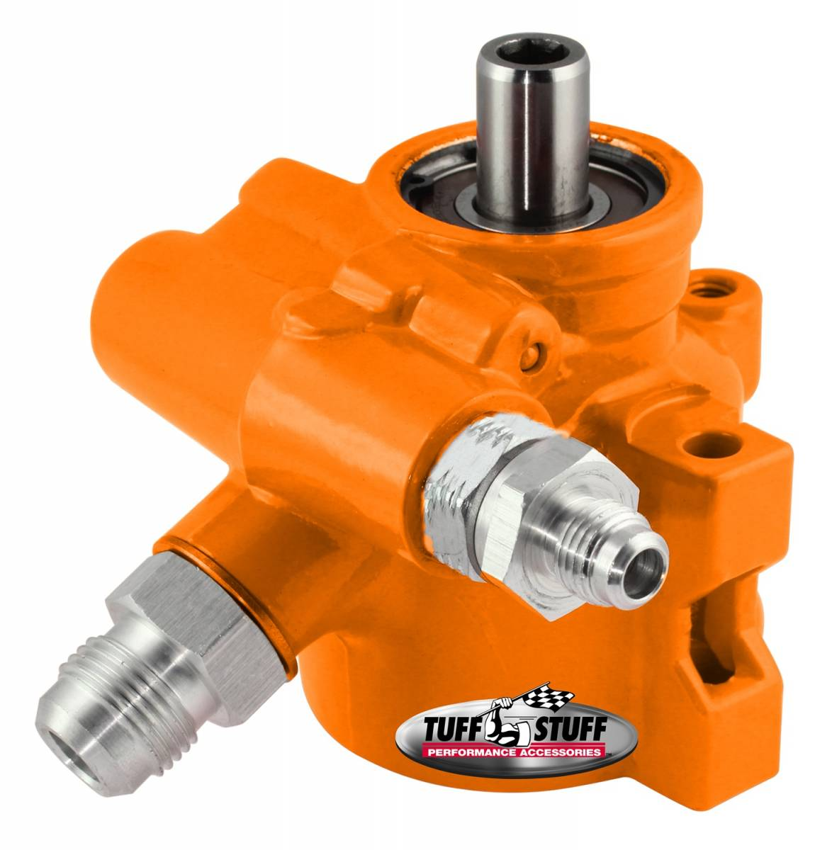 Tuff Stuff Performance - Type II Alum. Power Steering Pump AN-6 And AN-10 Fittings 8mm Through Hole Mounting Aluminum For Street Rods/Custom Vehicles w/Limited Engine Space Orange 6175ALORANGE