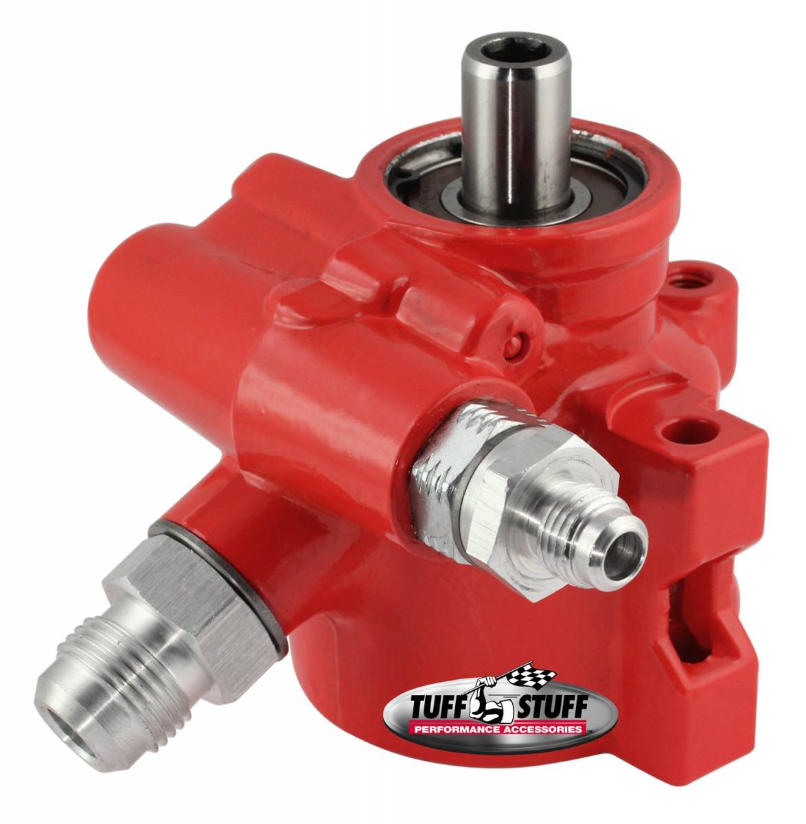 Tuff Stuff Performance - Type II Alum. Power Steering Pump AN-6 And AN-10 Fittings 8mm Through Hole Mounting Aluminum For Street Rods And Custom Vehicles w/Limited Engine Space Red 6175ALRED