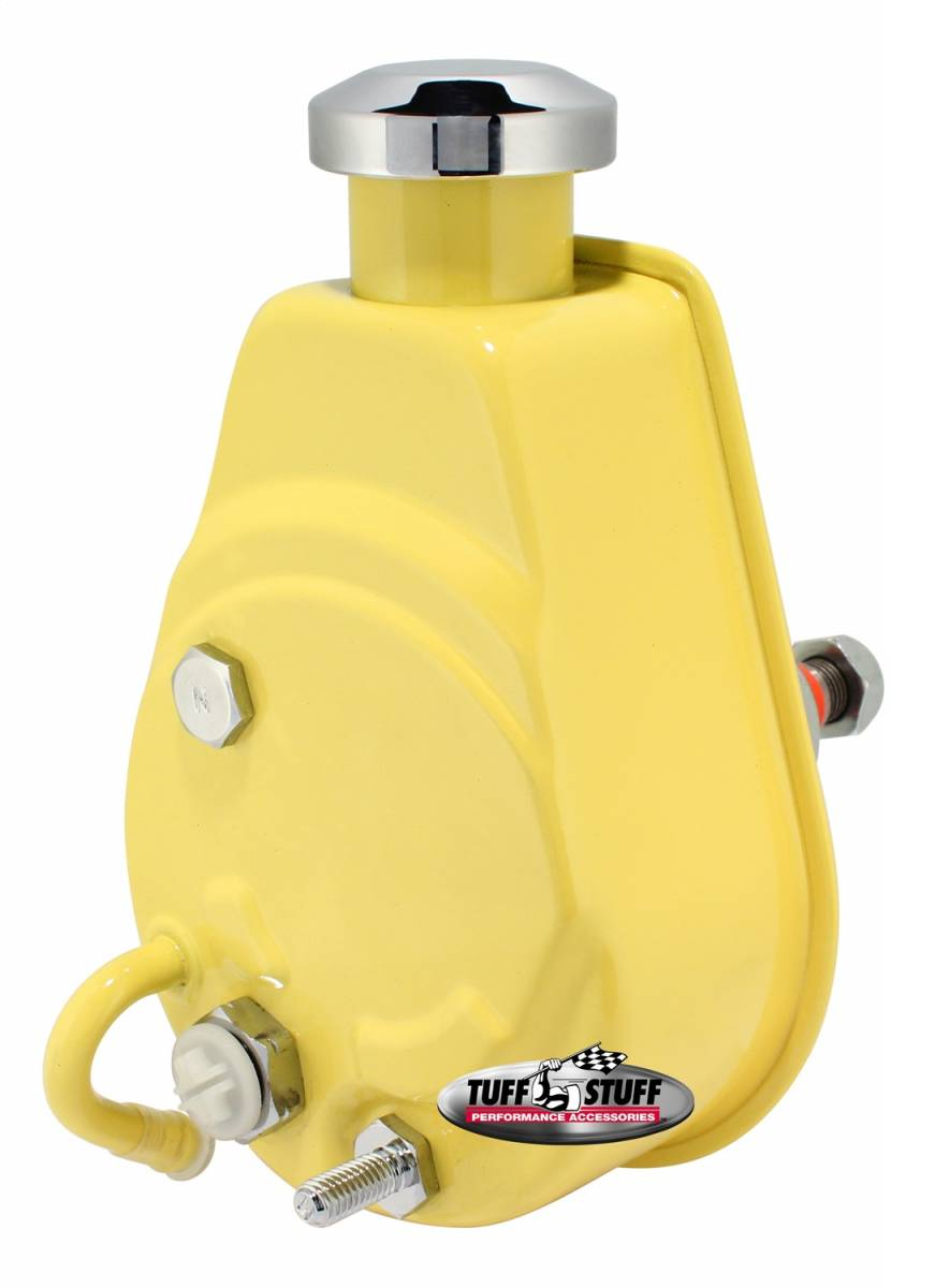 Tuff Stuff Performance - Saginaw Style Power Steering Pump Univ. Fit 5/8 in. Keyed Shaft 1200 PSI 5/8-18 SAE Pressure Fittings 3/8 in.-16 Mtg. Holes Yellow 6176BYELLOW