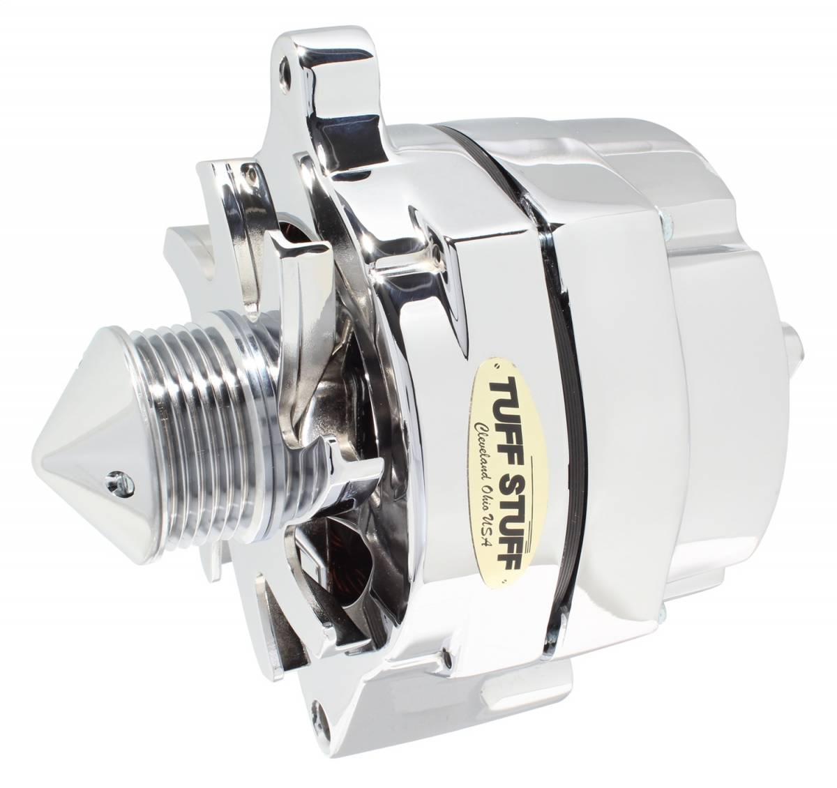 Tuff Stuff Performance - Silver Bullet Alternator 100 AMP Smooth Back 1 Wire 6 Groove Bullet Pulley Chrome 7068ABULL6G