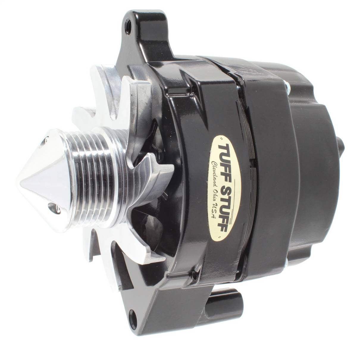 Tuff Stuff Performance - Silver Bullet Alternator 100 AMP Smooth Back 1 Wire 6 Groove Bullet Pulley Black 7068FBULL6G