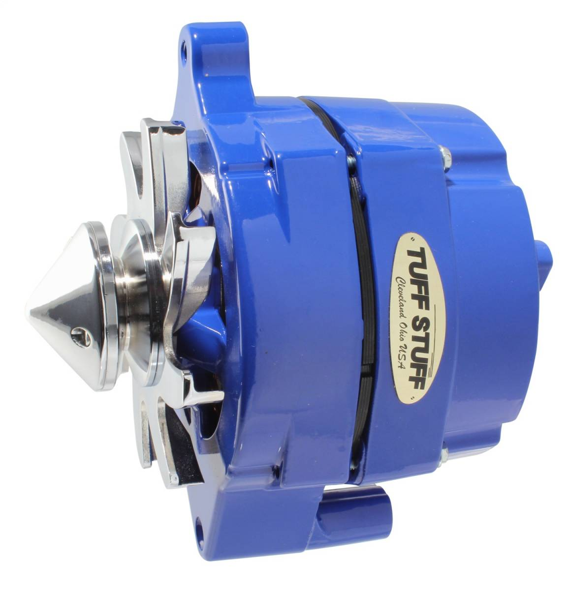 Tuff Stuff Performance - Silver Bullet Alternator 100 AMP Smooth Back 1 Wire V Bullet Pulley Blue Powdercoat w/Chrome Accents 7068FBULLBLU