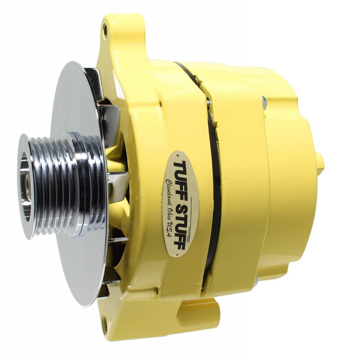 Tuff Stuff Performance - Alternator 100 AMP Smooth Back 1 Wire 6 Groove Pulley Yellow Powdercoat w/Chrome Accents 7068RF6GY