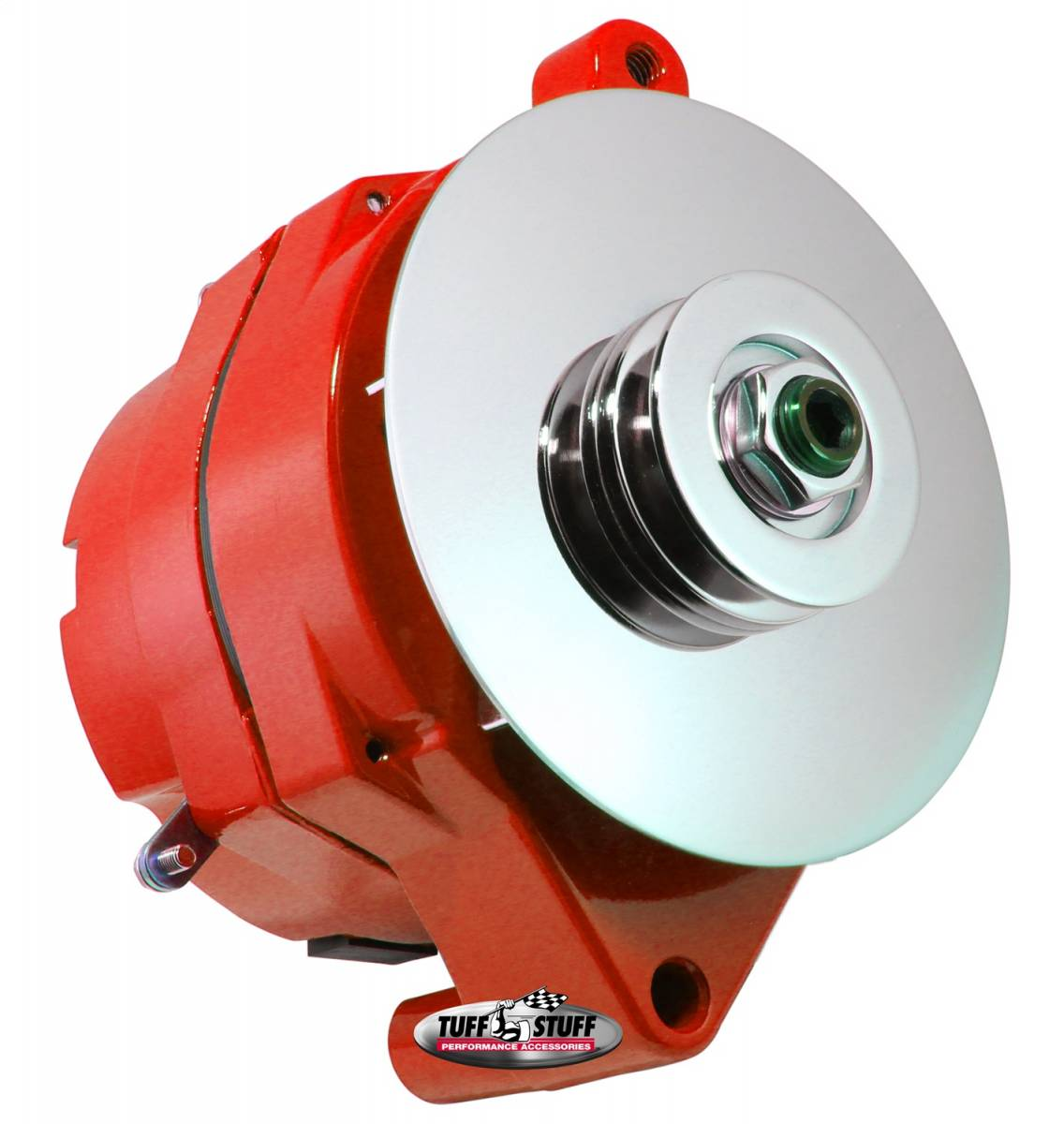 Tuff Stuff Performance - Alternator 100 AMP Smooth Back 1 Wire 1 Grove Pulley Red Powdercoat w/Chrome Accents 7068RFRED