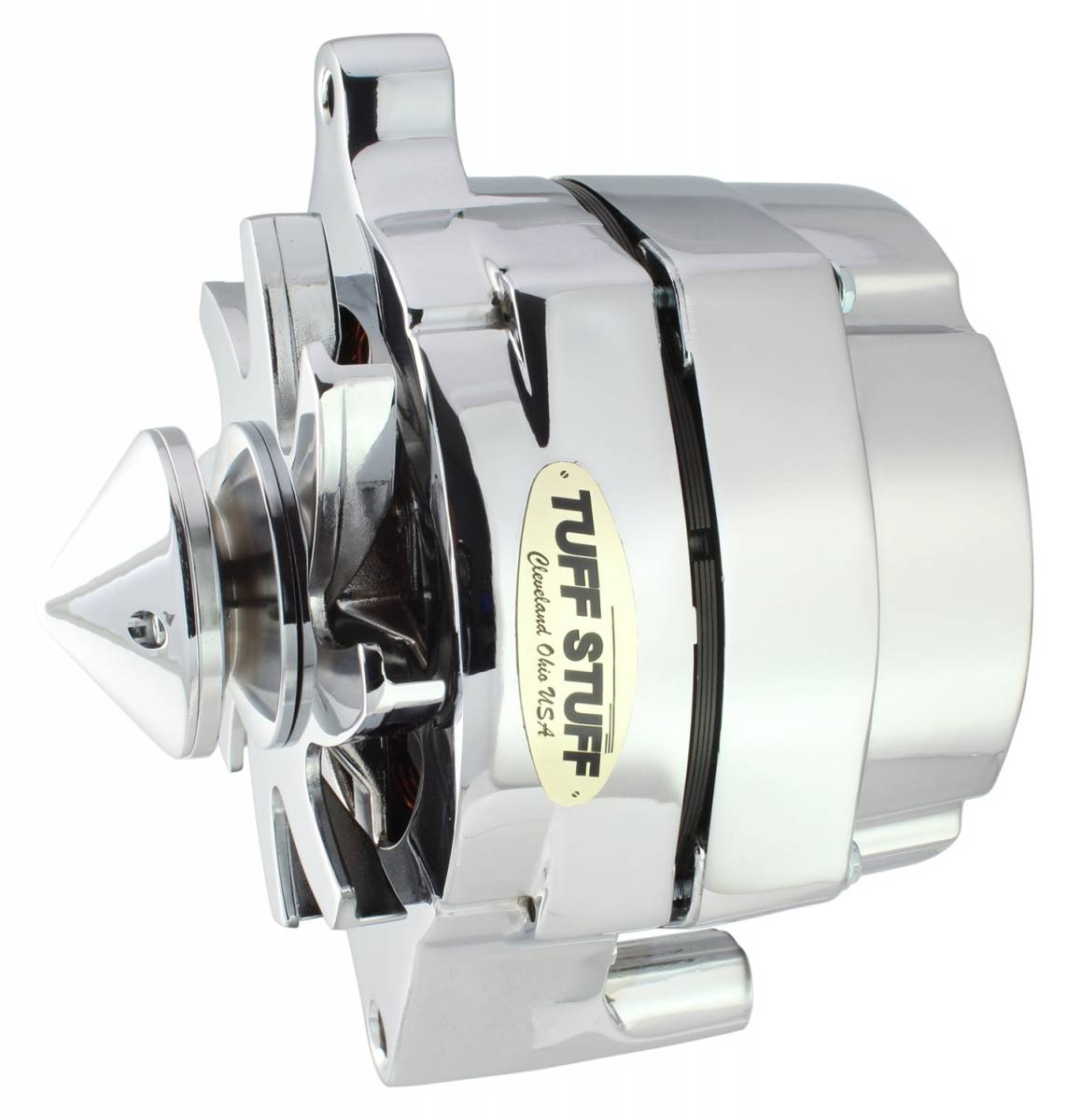 Tuff Stuff Performance - Silver Bullet Alternator 140 AMP Smooth Back 1 Wire V Bullet Pulley Polished 7069BBULL