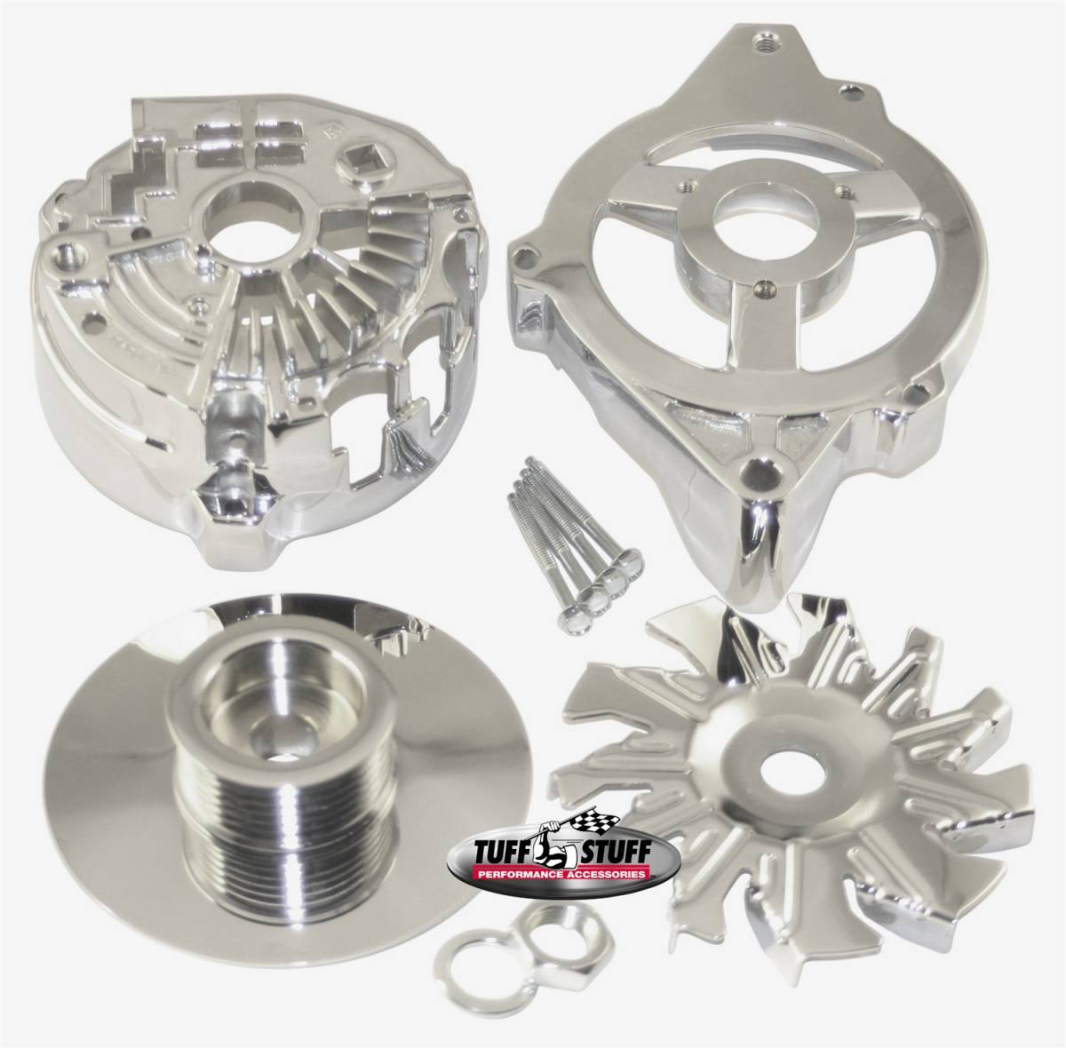 Tuff Stuff Performance - Alternator Case Kit Fits GM CS130 w/6 Groove Pulley And Tuff Stuff Alternator PN[7935] Incl. Front And Rear Housings/Fan/Pulley/Nut/Lockwashers/Thru Bolts Chrome Plated 7500H