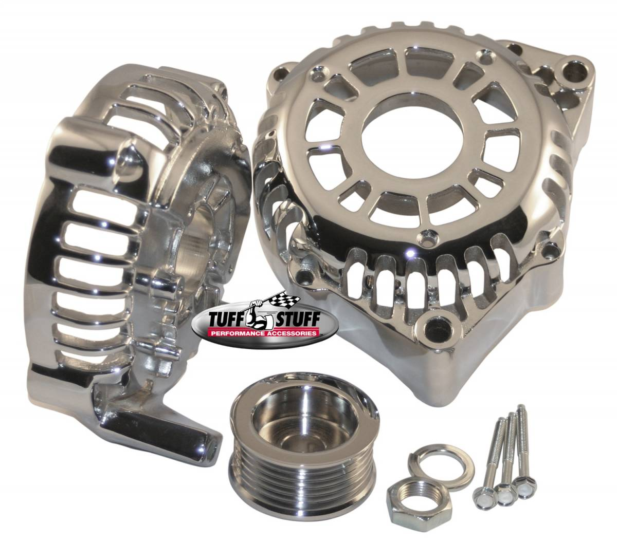 Tuff Stuff Performance - Alternator Case Kit Fits GM CS130D w/6 Groove Pulley And Tuff Stuff Alternator PN[8206] Incl. Front And Rear Housings/Fan/Pulley/Nut/Lockwashers/Thru Bolts Chrome Plated 7500L