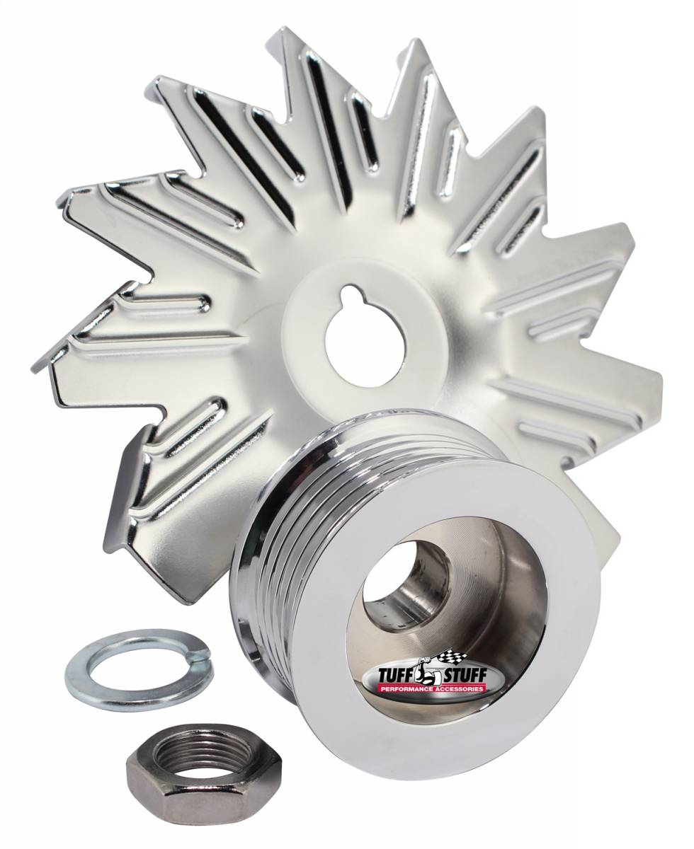 Tuff Stuff Performance - Alternator Fan And Pulley Combo 6 Groove Serpentine Pulley Incl. Fan/Lockwasher/Nut Chrome Plated 7600D