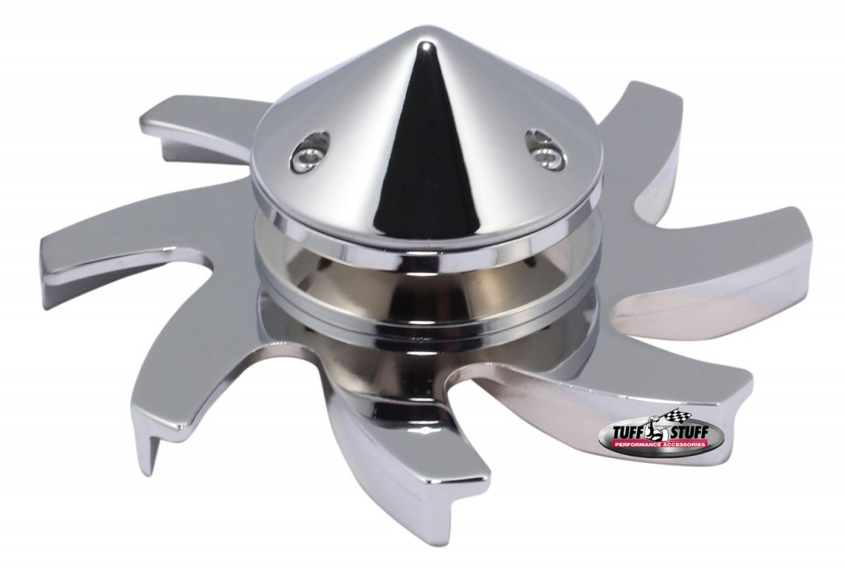 Tuff Stuff Performance - Alternator Fan And Pulley Combo Universal Single V Groove Pulley Incl. Fan/Lock Washer/Nut Polished CS 130 Fits PN[7860/7861/7866/7935] 7666B