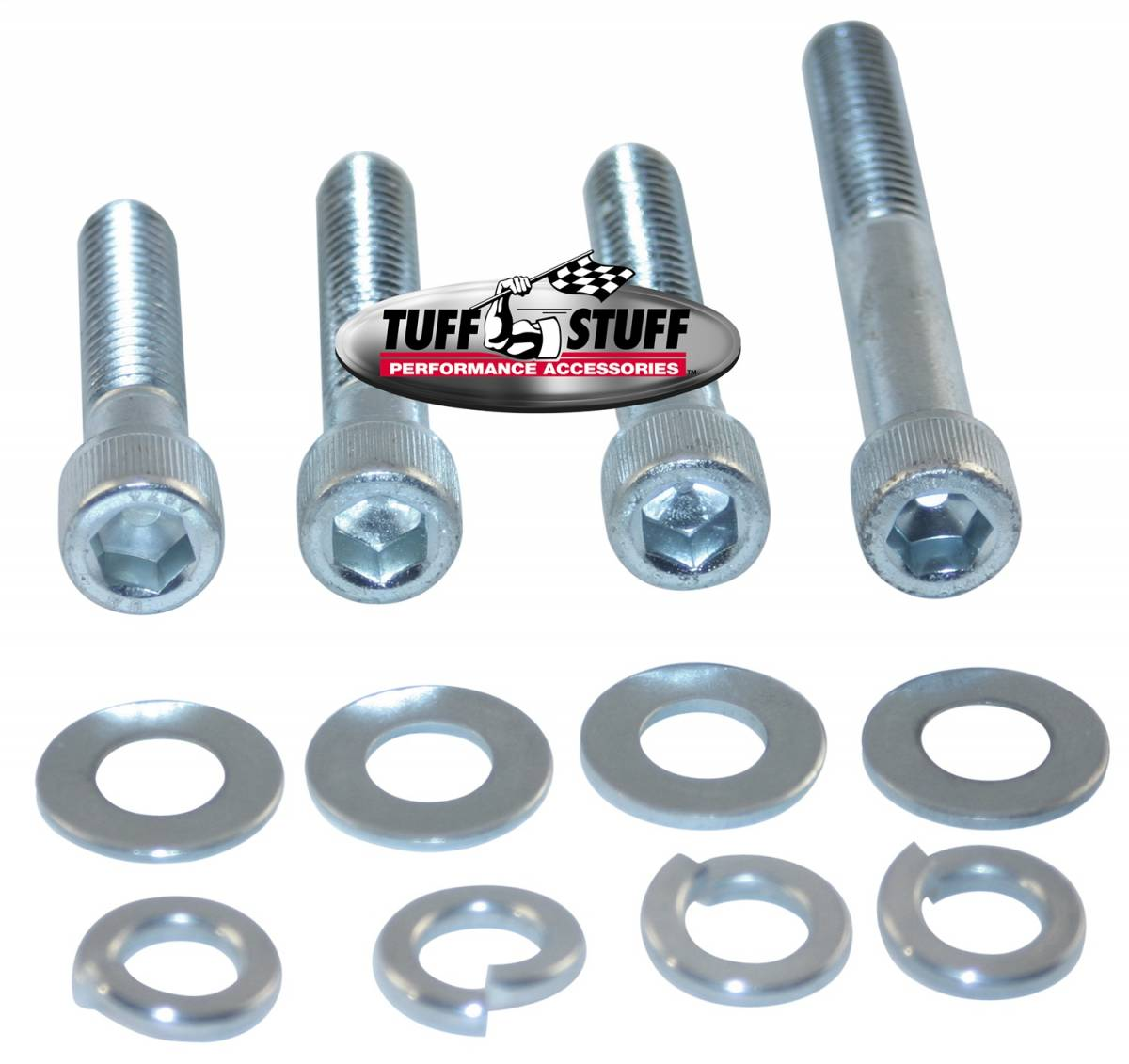 Tuff Stuff Performance - Water Pump Bolt Kit Chrome Socket Incl. (1)3/8in. -16x1 3/4/(2)3/8in.-16x2 in./(1)3/8 in-16x2 3/4in. Bolts/(4) Lock And (4) Flat Washers 7675C