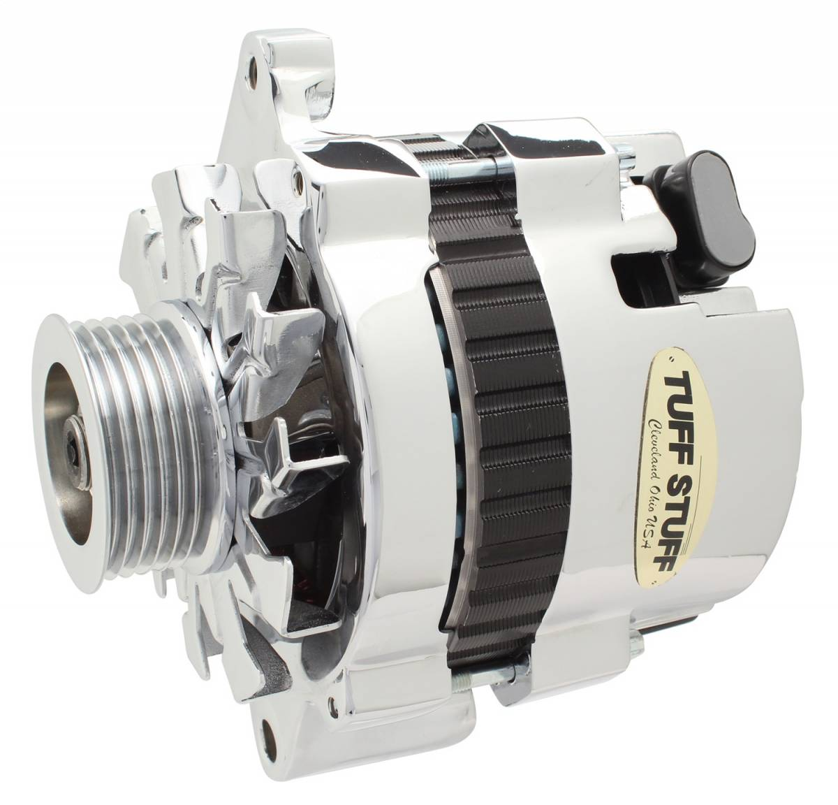 Tuff Stuff Performance - Alternator 120 AMP CS121 GM Style Mini Racer 1 Wire Or OEM Hookup 12 Volt 6G Groove Pulley Chrome Side Terminal For Use In GM Models 7937AST6G