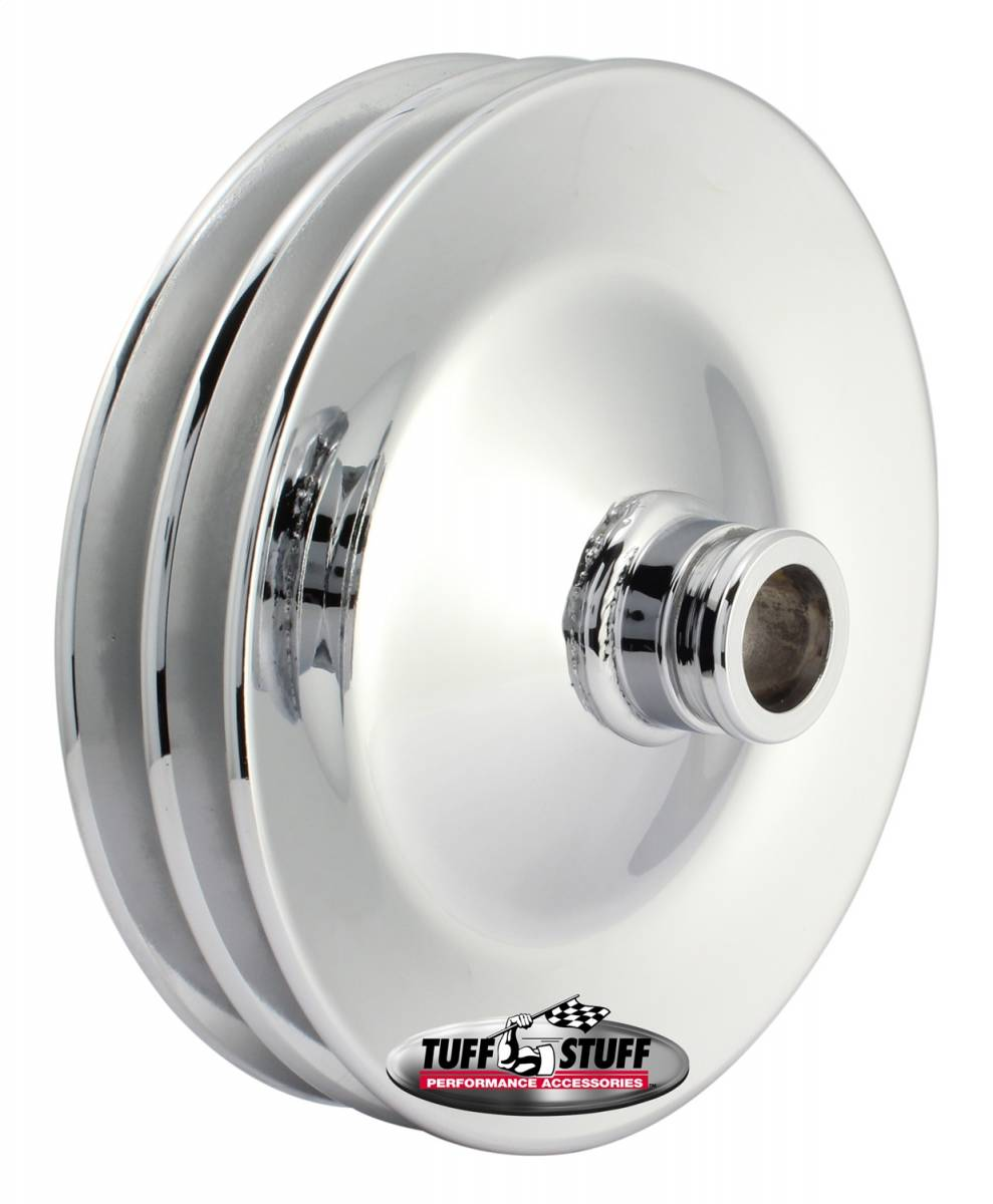 Tuff Stuff Performance - Power Steering Pump Pulley Double V-Groove Fits All Tuff Stuff Saginaw Style Pumps That Require A Press-On Pulley Chrome Plated 8486A