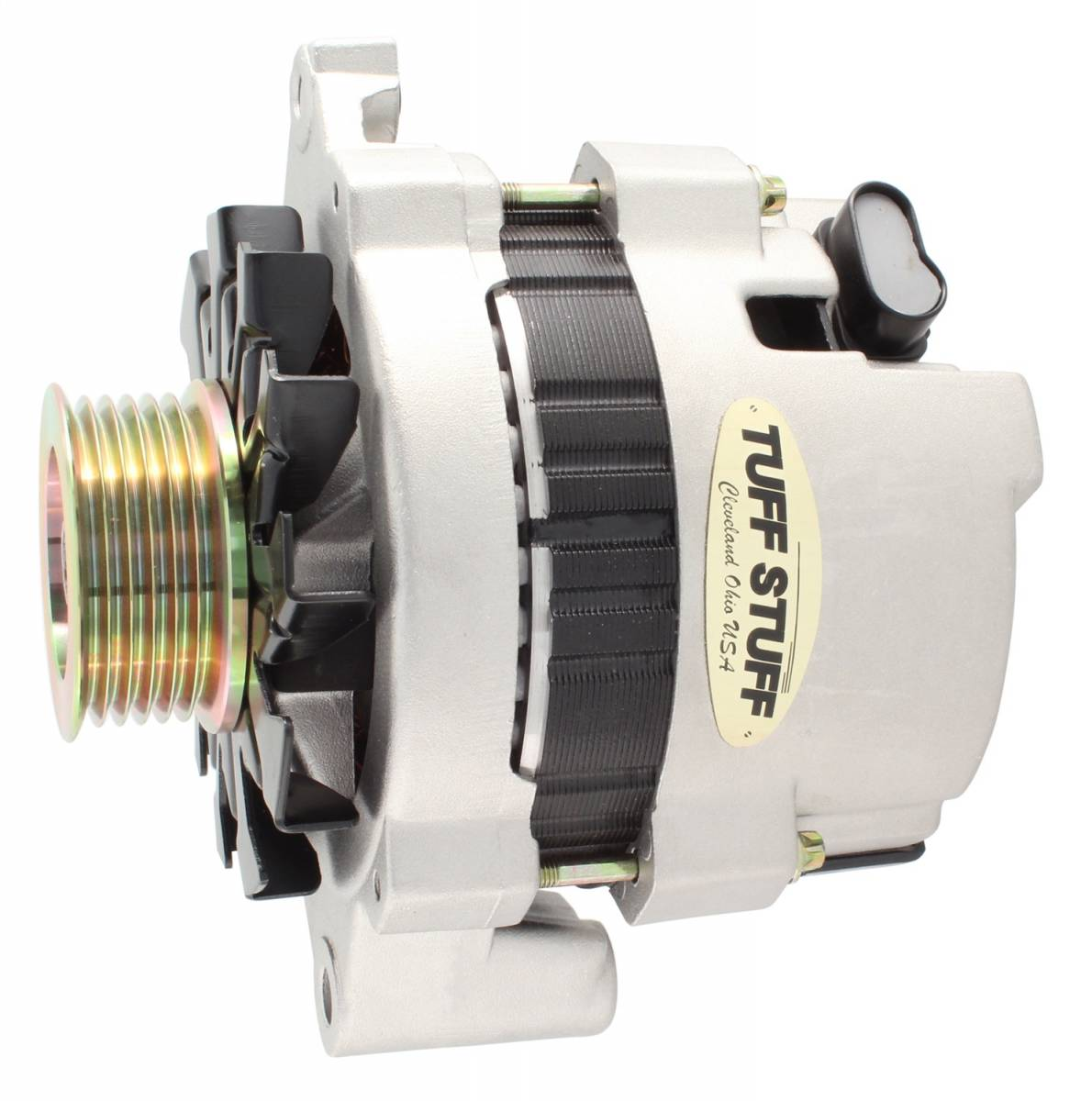 Tuff Stuff Performance - Alternator 120 AMP CS121 GM Style Mini Racer 1 Wire Or OEM Hookup 12 Volt 6G Groove Pulley Factory Cast PLUS+ Side Terminal For Use In GM Models 7937ST6G