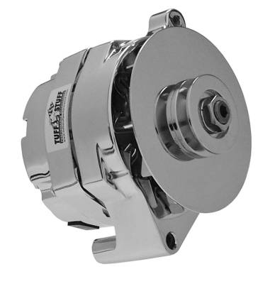 Alternator - 1-Wire - Tuff Stuff Performance - Alternator Smooth Back 1 Wire 100 AMP V Groove Pulley Chrome 7068RD