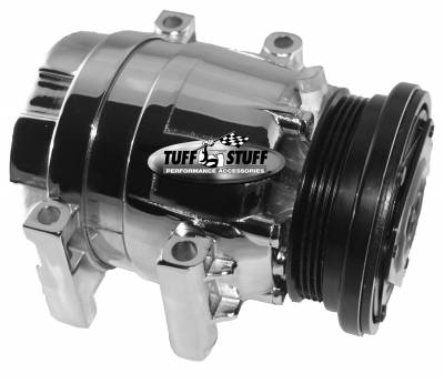 Air Conditioning Compressor - Camaro Firebird - Tuff Stuff Performance - LS1 Series A/C Compressor 4 Groove Pulley Polished 4510NB