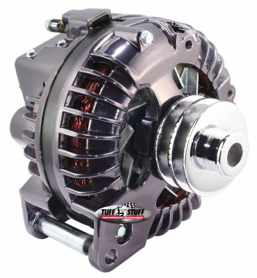 New Products - Alternators - High Amp - Tuff Stuff Performance - Alternator 130 AMP 1 Wire Double Groove Pulley Black Chrome 9509RDDP7