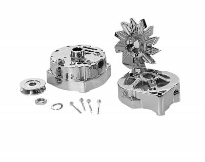 Alternator - Accessories - Tuff Stuff Performance - Alternator Case Kit Fits GM 10SI And Tuff Stuff Alternator PN[7127] Incl. Front And Rear Housings/Fan/Pulley/Nut/Lockwashers/Thru Bolts Chrome Plated 7500A
