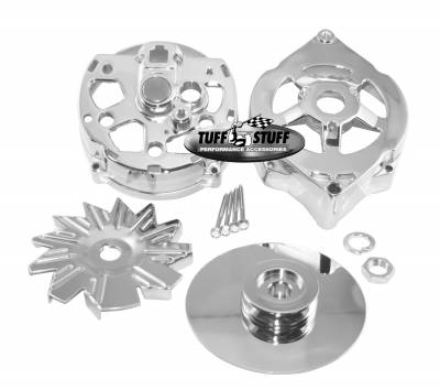 Alternator - Accessories - Tuff Stuff Performance - Alternator Case Kit Fits GM 10DN And Tuff Stuff Alternator PN[7102] Incl. Front And Rear Housings/Fan/Pulley/Nut/Lockwashers/Thru Bolts Chrome Plated 7500B