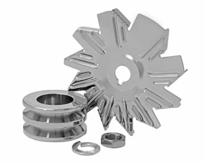 Alternator - Accessories - Tuff Stuff Performance - Alternator Fan And Pulley Combo Double V Groove Pulley Incl. Fan/Lockwasher/Nut Chrome Plated 7600B