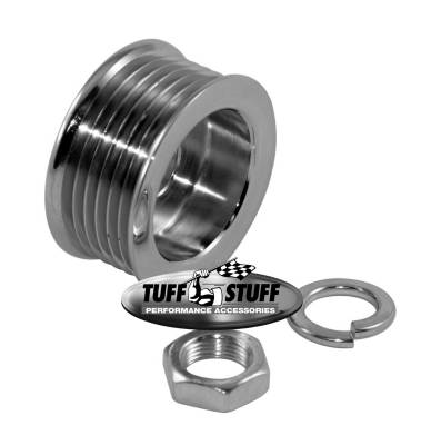 Alternator - Accessories - Tuff Stuff Performance - Alternator Pulley 2.25 in. 6 Groove Serpentine Incl. Lockwasher/Nut Chrome 7610A