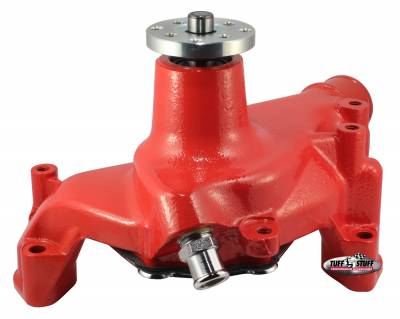 Tuff Stuff Performance - SuperCool Water Pump 7.281 in. Hub Height 5/8 in. Pilot Long (2) Threaded Water Ports Red Powdercoat w/Chrome Accents 1461NCRED