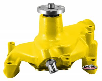 Tuff Stuff Performance - SuperCool Water Pump 7.281 in. Hub Height 5/8 in. Pilot Long (2) Threaded Water Ports Yellow Powdercoat w/Chrome Accents 1461NCYELLOW