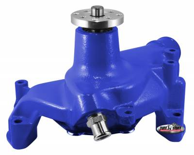 Tuff Stuff Performance - SuperCool Water Pump 7.281 in. Hub Height 5/8 in. Pilot Long (2) Threaded Water Ports Blue Powdercoat w/Chrome Accents 1461NCBLUE