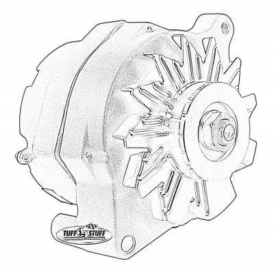 Alternator - 1-Wire - Tuff Stuff Performance - Alternator Smooth Back 1 Wire 100 AMPS 1 Grove Pulley Blue Powdercoat w/Chrome Accents 7068RFBLUE