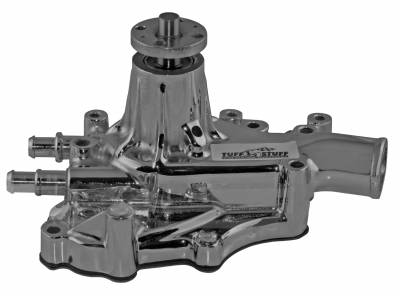 Water Pump - Small Block - Tuff Stuff Performance - Platinum SuperCool Water Pump 5.687 in. Hub Height 5/8 in. Pilot w/Driver Side Inlet Aluminum Casting Chrome 1467AA