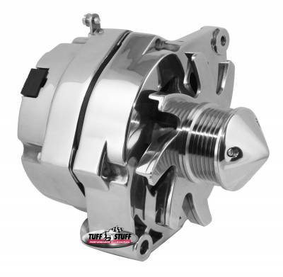 Tuff Stuff Performance - Silver Bullet Alternator 100 AMP OEM Or 1 Wire 6 Groove Pulley 4.85 in. Case Depth Lower Mount Boss 2 in. Long Chrome 12 Clocking 7139ABUL6G12