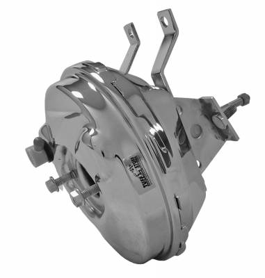 Braking - Power Brake Combos - Tuff Stuff Performance - Power Brake Booster 9 in. Single Diaphragm Incl. Booster Mtg. Bracket/3/8 in.-16 Mtg. Studs And Nuts Chrome 2230NA